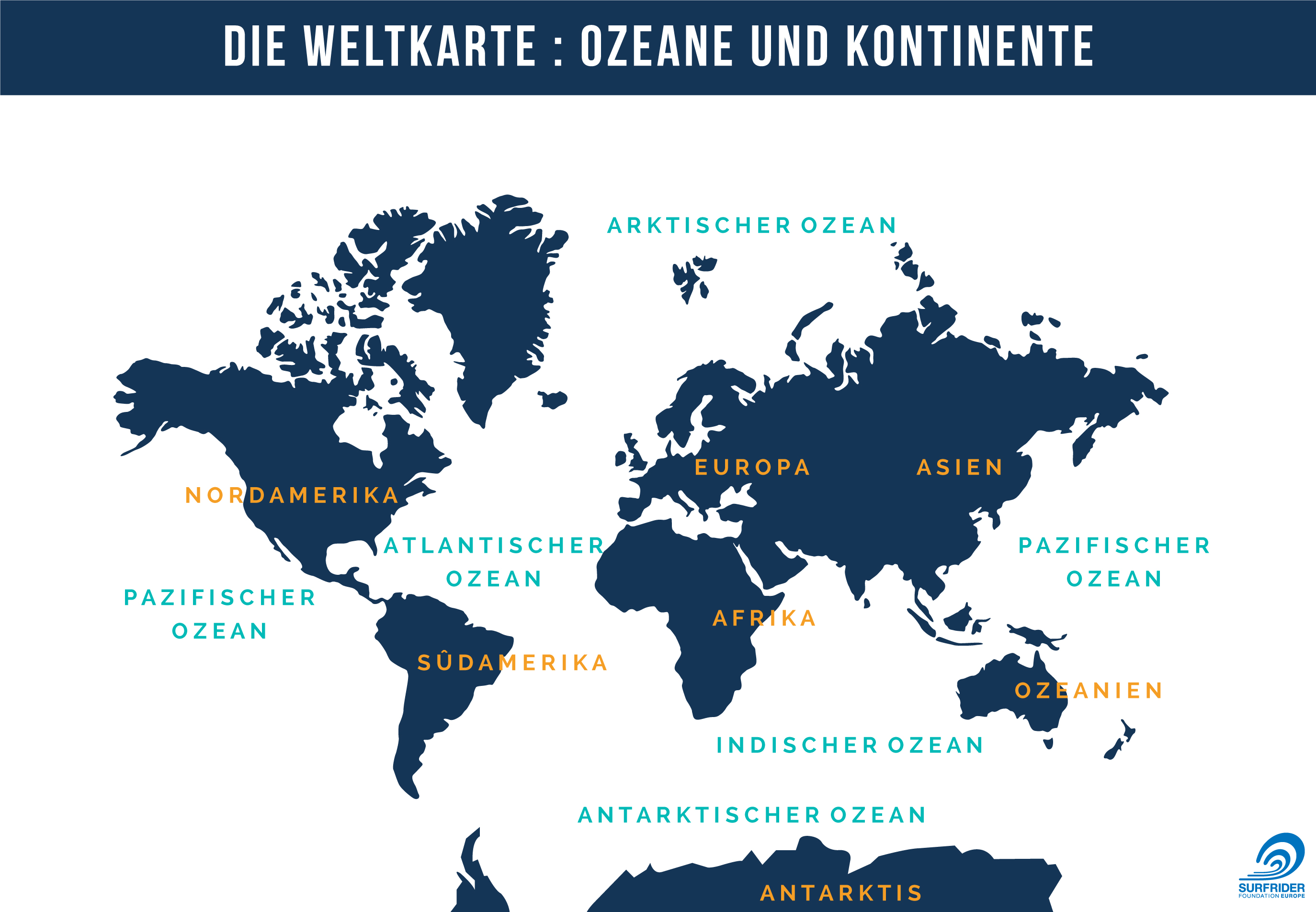 Die Weltkarte Ozeane Und Kontinente Surfrider Ocean Campus